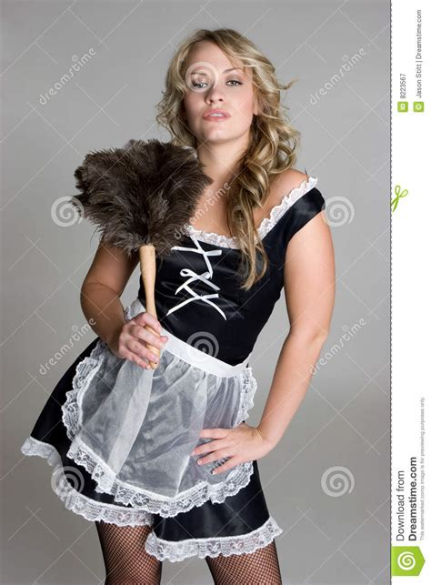 pretty french maid stock image image  blond fancy