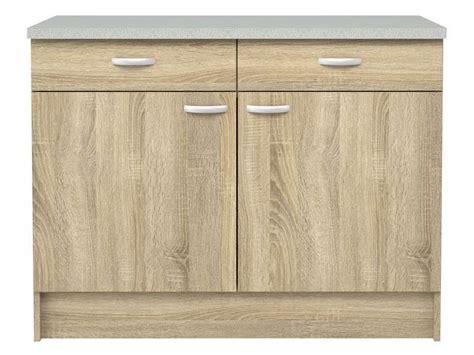 meuble bas cuisine  portes  tiroirs casa coloris chene