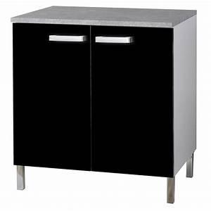 Meuble Bas 2 Portes : meuble bas 2 portes glossy noir ~ Dallasstarsshop.com Idées de Décoration