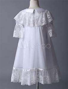 Robe Boheme Fille : robe boh me adorbale de cort ge fille en tulle blanc col rond avec dentelle ~ Melissatoandfro.com Idées de Décoration
