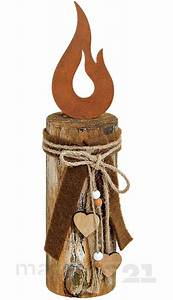 Deko Aus Holz : holzpfahl mit kerzenflamme aus metall schleife holz deko 8x8x35 cm kaufen matches21 ~ Orissabook.com Haus und Dekorationen