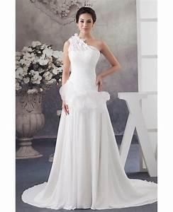 floral one shoulder grecian chiffon beach wedding dress With floral beach wedding dresses