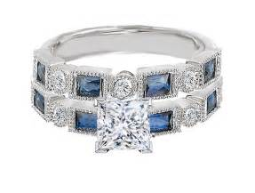 engagement rings with sapphire accents engagement ring princess cut engagement ring blue sapphire accents matching wedding