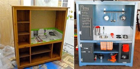 play kitchen from furniture diy old furniture turned into a play kitchen trusper