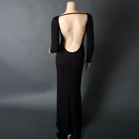 Black Minimalist Long Sleeve Backless Maxi Jersey Full