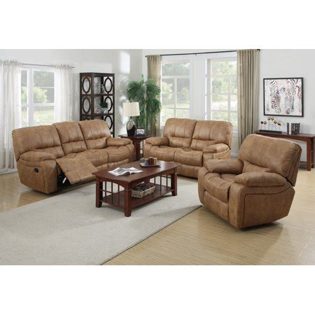 3 Pc Living Room Sofa Sets by Lillian 3 Pc Golden Brown Printed Leather Fabric Living