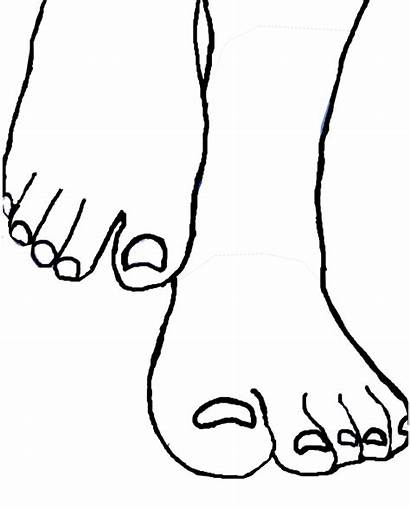Feet Drawing Clipart Foot Template Clip Cliparts