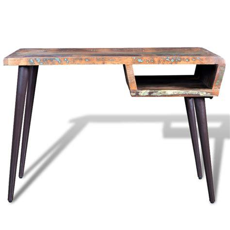 bureau des 駘钁es mesa de madera reciclada con patas de hierro tienda vidaxl es
