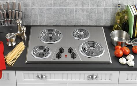 Ge Jp328skss 30 Inch Electric Cooktop With 4 Coil Elements, Removable Drip Bowls, Upfront