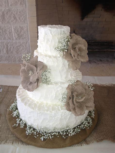 Burlap Themed Wedding Cake