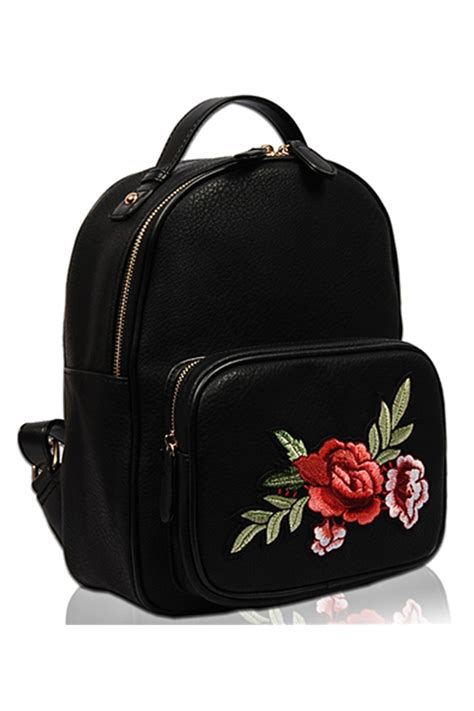 solid flower embroidery  pack  front zipper pocket agp handbags apparel