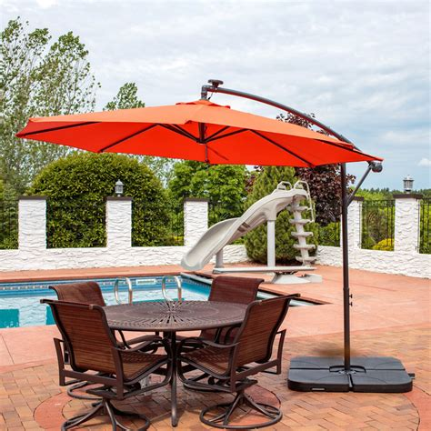 cantilever patio umbrellas sunnydaze steel offset solar patio umbrella w cantilever