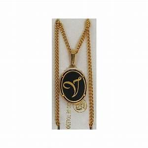 damascene gold letter v oval pendant With gold pendant letter v