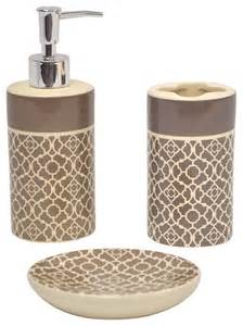 lovely lattice taupe bath accessory 3 piece set