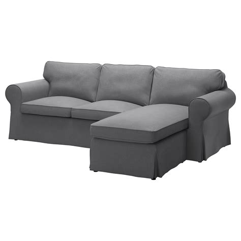 Ektorp Twoseat Sofa And Chaise Longue Nordvalla Dark Grey