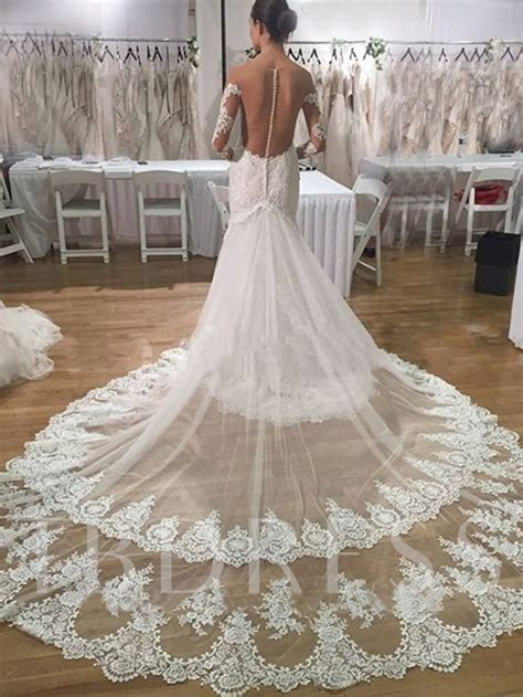 sheer  button lace mermaid wedding dress  long