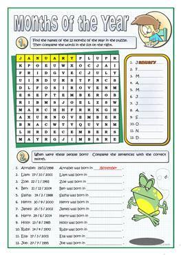 esl months worksheets