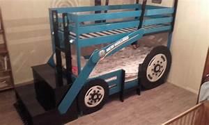 Lit Superposé Escalier : lit tracteur superpos menuiserie fagot ~ Premium-room.com Idées de Décoration
