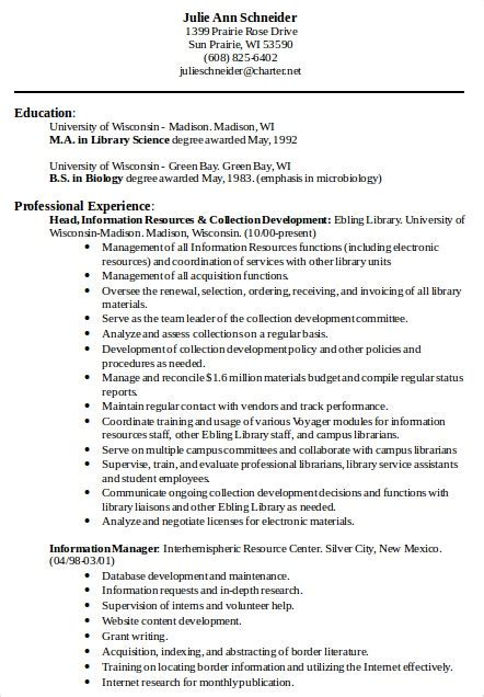 librarian resume templates    premium