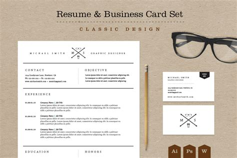 Resume Business Card Format by Classic Resume Business Card Set Resume Templates On Creative Market