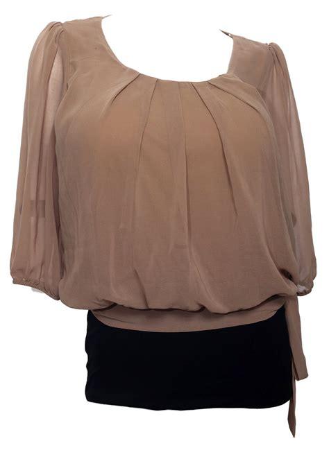 plus size chiffon blouse plus size sheer chiffon scoop neck blouse light brown