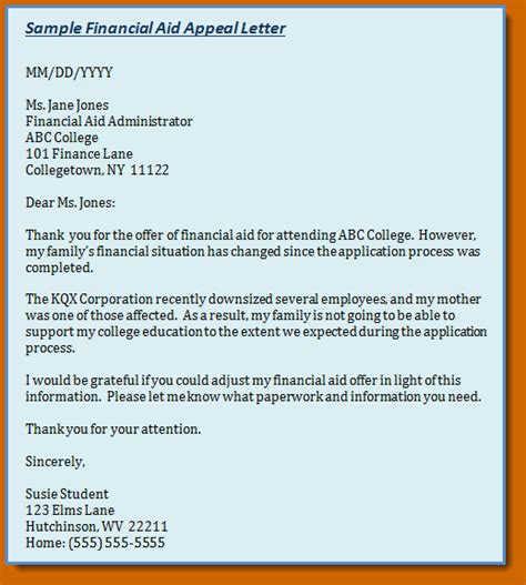 financial aid appeal letter 13 exles of financial aid appeal letters lease template 22106