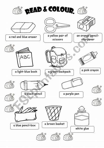 Objects Classroom Worksheet Worksheets Coloring Vocabulary Pages