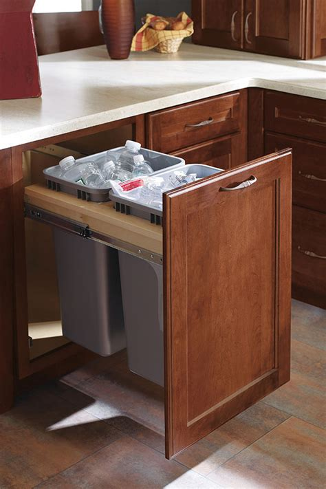 kitchen corner cabinet trash can pull out full height double trash pull out cabinet decora