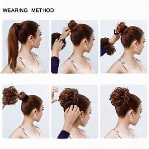 Feshfen Wavy Messy Hair Bun Donut Hair Chignons Hairpiece