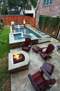 narrow pool with hot tub + firepit