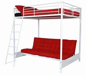 Lit Superposé Avec Clic Clac : lit mezzanine 2 places avec bureau ~ Nature-et-papiers.com Idées de Décoration