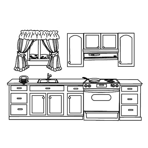 kitchen coloring page my house kitchen coloring pages print 3384