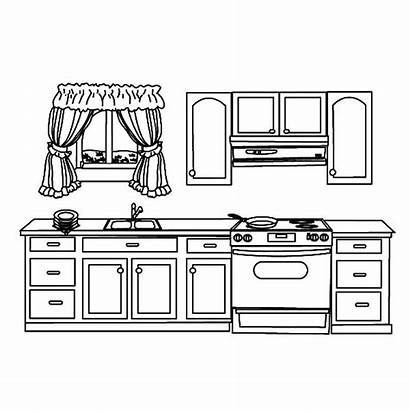 Coloring Kitchen Pages Cabinet Utensils Templates Drawing