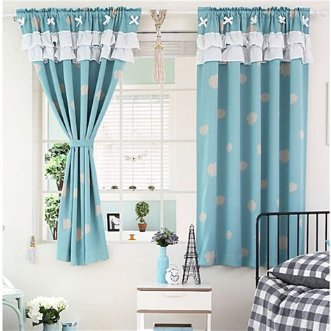 Window Curtains by Lovely Cloud Pattern Blue Polyester Thick Fabric Blackout