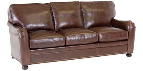 Leather Pillow Back Sofa W English Arms & Nailhead Trim