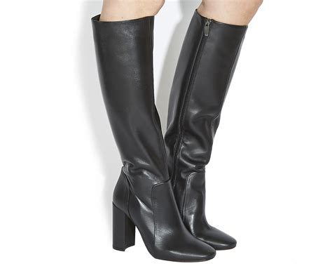 Knee Boots : Office Eli Square Toe Knee Boot Black Leather