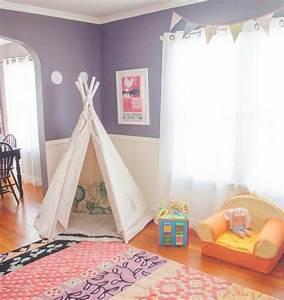 Tente Chambre Fille : diy chambre enfant fille avec un tapis multicolore tipi pour enfant blanc d coration de ~ Teatrodelosmanantiales.com Idées de Décoration