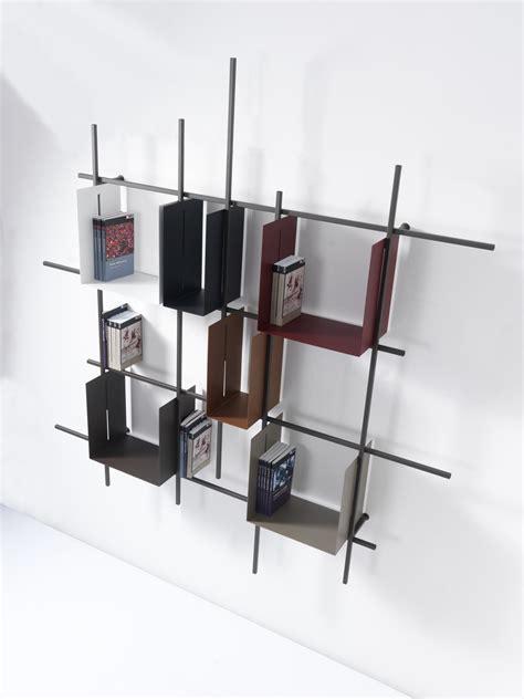 libreria parete libreria a parete moderna in acciaio tubolare libra2