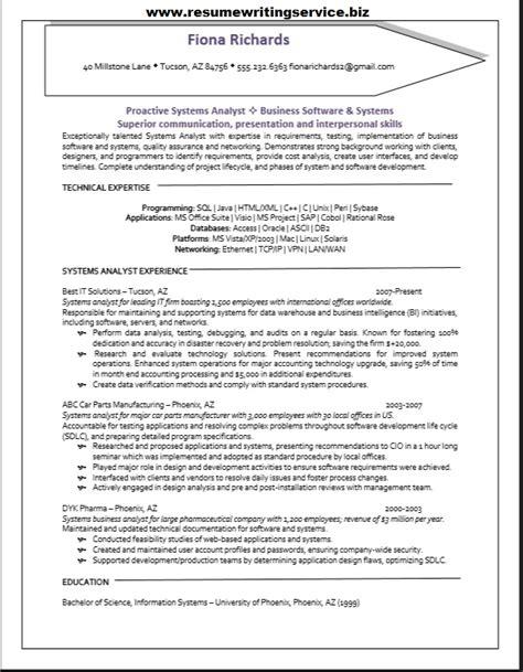 systems analyst resume sle resume writing service