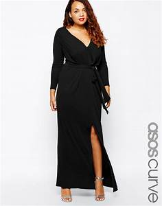 robe longue grande taille fendue manches longues noire With robe noire longue manche longue
