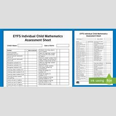 * New * Eyfs Individual Child Mathematics Assessment Sheet  Early Years