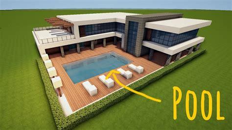 Großes Modernes Haus by Pool Bauen Minecraft Haus Bauen In Minecraft Inder Club