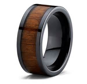 mens wedding rings wood mens koa wood wedding band rings 9mm flat top black ceramic