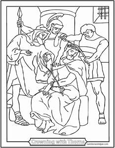 Christ With Crown Of Thorns Coloring Page Rosary Coloring