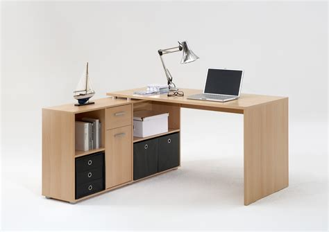 bureau in bureau d 39 angle réversible contemporain coloris hêtre
