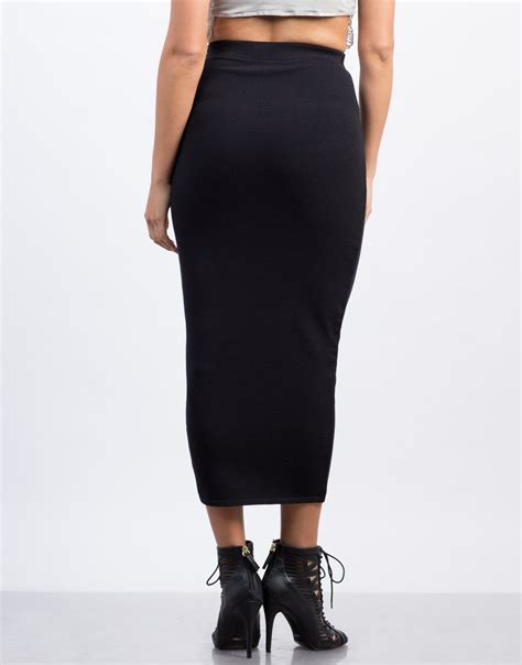 Solid Long Pencil Skirt - Maxi Skirt - Black Skirt u2013 2020AVE