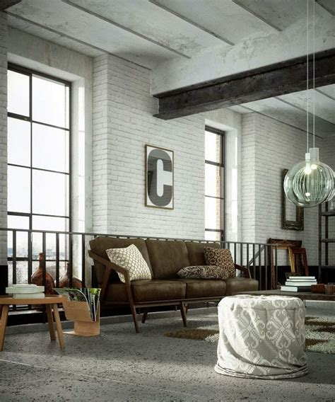 living room white amusing industrial living room design white brick wall Industrial