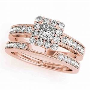 Engagement rose gold princess cut wedding rings bands for for Princess cut engagement rings with wedding band