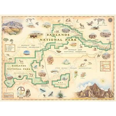 Badlands National Park Map - Illustrated Art by Xplorer Maps