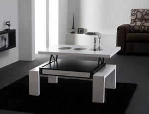 Table Haute Design : table haute design relevable blanc noir latablebasse ~ Teatrodelosmanantiales.com Idées de Décoration